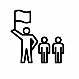 three people with one waving a flag